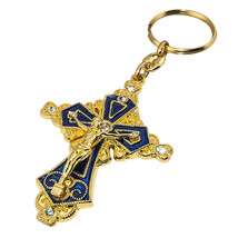 """Gold-Plated Key Chain Ring Cross Crucifixion w/ St Benedict Medal Gift 4.6"""" - $11.88"""