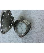 Vintage ADRIENNE Heart Rhinestone Pendant Locket Watch Quartz Battery Ja... - $19.75