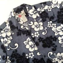Hilo Hattie Hawaiian Aloha Friday Shirt Hibiscus Flowers Gray Black Whit... - $34.60