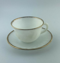 Vintage Fire King Oven Ware~Cup & Saucer~White Swirl Milk Glass & Gold R... - $16.34