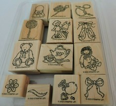 Stampin Up Buttons Bows & Twinkletoes Mounted Stamp Set 13 Toys Girl Ballerina - $10.80