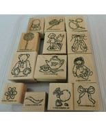 Stampin Up Buttons Bows & Twinkletoes Mounted Stamp Set 13 Toys Girl Bal... - $10.80