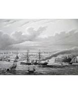 NEW YORK CITY Harbor Steamships Boats - CIVIL WAR Era Print - $39.60