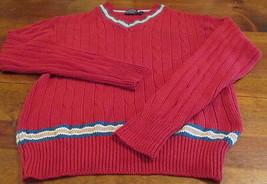Cable Knit V Neck Sweater Cranberry Holiday Size L Large Sundays 1980s V... - $14.84