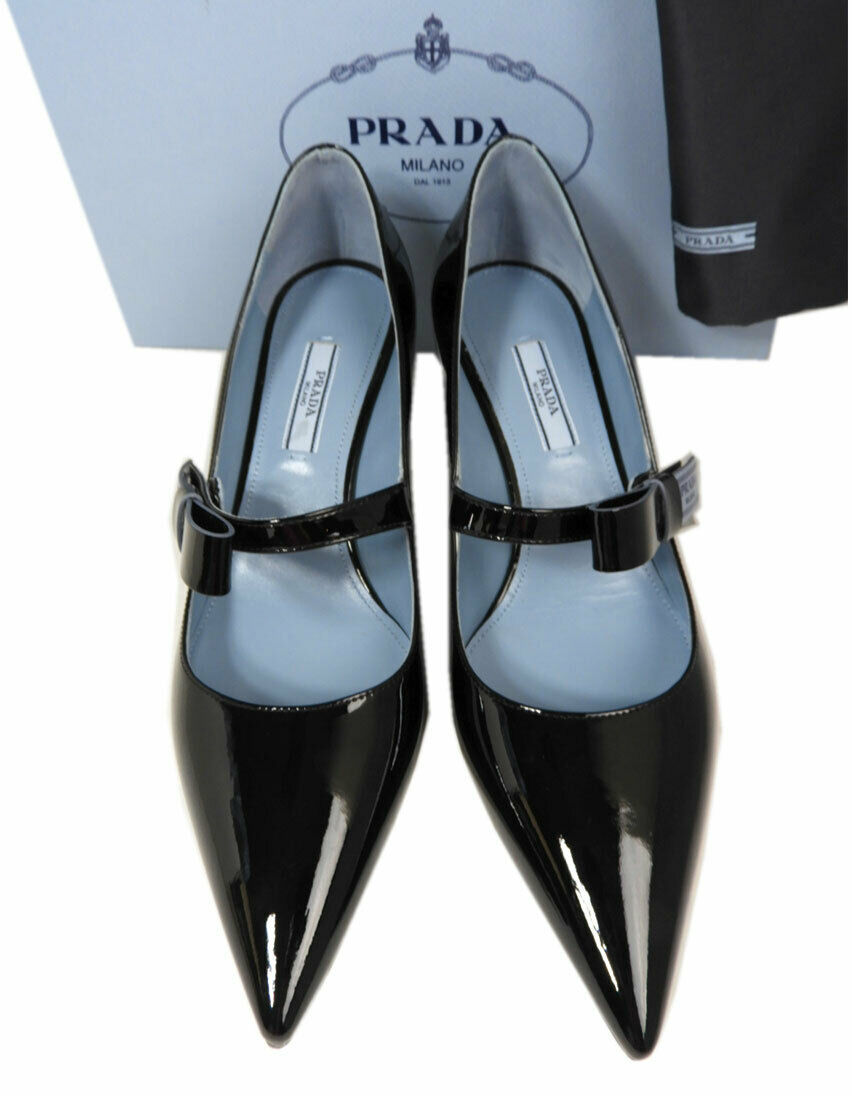 Taille 40 Prada Noeud Logo Cuir Noir Tennis Chaussures Bout Pointu Mary Jane image 2