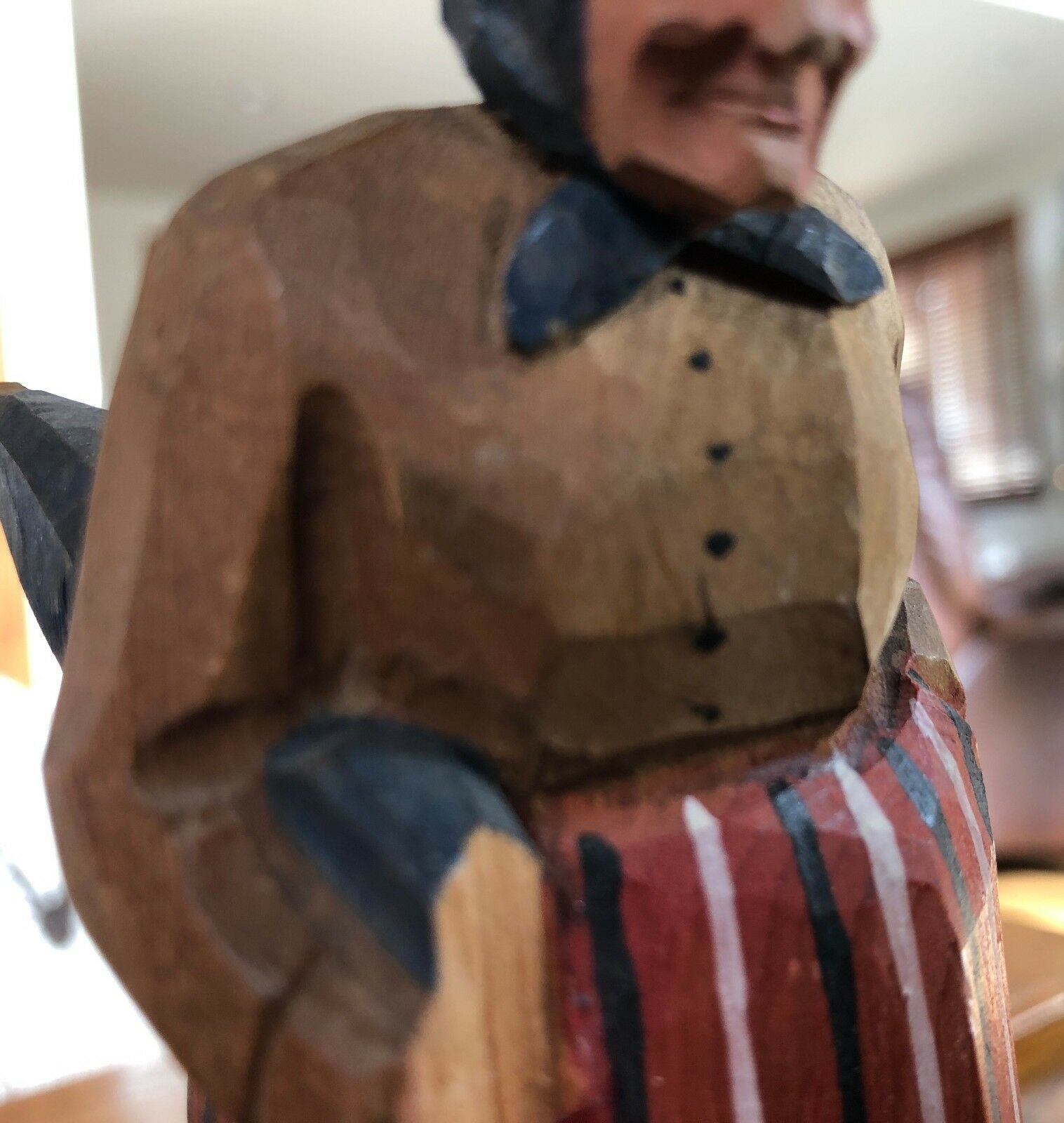 Antique Hand Carved Painted Wood Old Woman with Umbrella Figurine