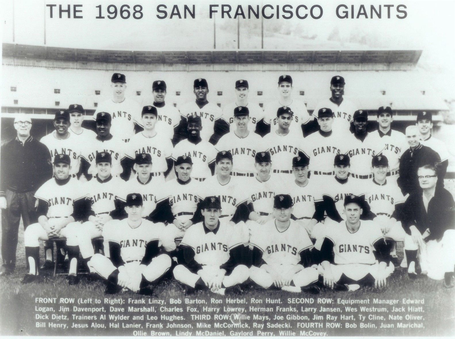 1968 SAN FRANCISCO GIANTS 8X10 TEAM PHOTO BASEBALL PICTURE MLB B/W