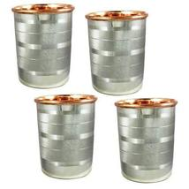 Stainless Steel Copper Water Glasses Set of 4, Large Goblets (8.5 oz) Dr... - $22.32