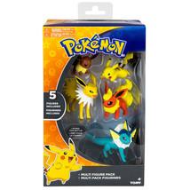 5 Pokemon Multi Action Figure Pack Flareon Jolteon Vaporeon Pikachu Eevee - $31.12