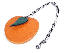 Authentic HERMES Orange Fruit Motif Key Chain Bag Charm Leather Orange G... - $187.11