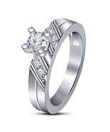 Hot Graceful Women's Silver Plated White Sim Diamond Wedding Party Band ... - $4.95