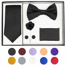 Berlioni Men's Handmade Microfiber Tie Bowtie Lapel Hanky Cufflinks Gift Box Set