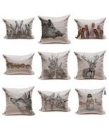 Linen Pillow Cushion Pillowcase Home Decor Cute Animals Rabbit Fox Deer ... - $35.00