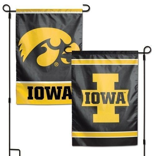 "IOWA HAWKEYES TEAM GARDEN WALL FLAG BANNER 12"" X 18"" 2 SIDED NCAA"