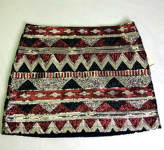 Forever 21 Sequins Chevron Aztec Design Mini Skirt NWT Lined Special Col... - $20.57