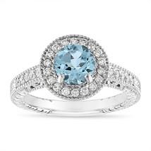 1.14 Carat Aquamarine Engagement Ring 14K White, Rose, Black, or Yellow ... - $1,650.00
