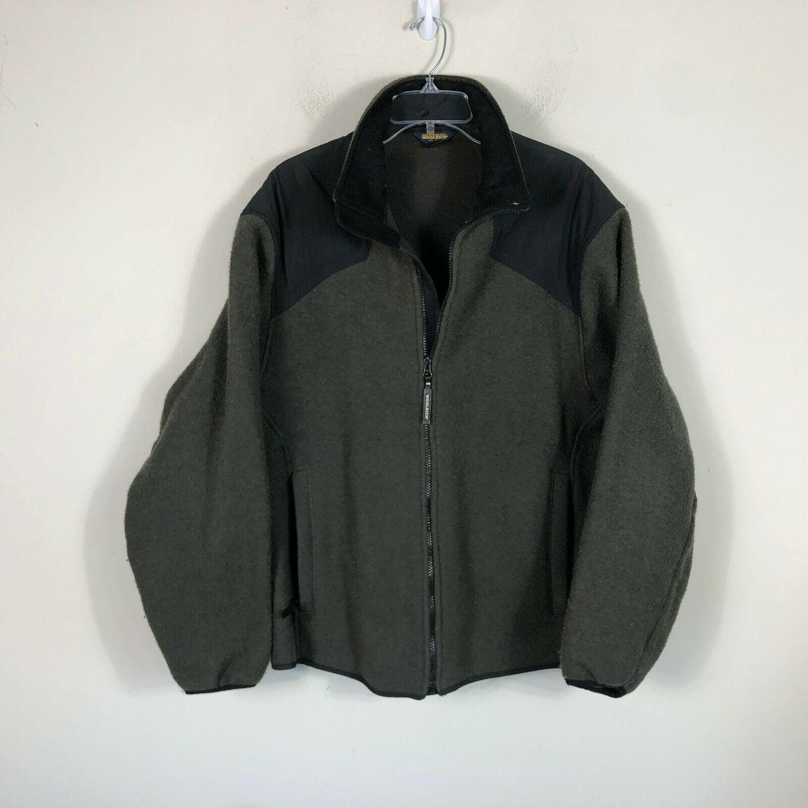 Wool Rich Wool Fleece Jacket Men's L Green Wool Blend Thick Winter Coat
