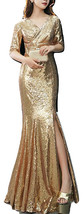 GOLD Sequin Maxi Formal Dress High Waist Side Slit Sequin Dress Wedding Outfits image 1
