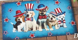 "PET DOOR MAT (nonskid back) (appr. 18"" x 30""), 5 AMERICAN PATRIOTIC DOGS - $15.83"