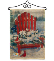 Red Chair in Winter Burlap - Impressions Decorative Metal Wall Hanger Ga... - $33.97