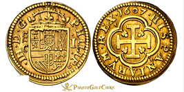 SPAIN 1607 1 ESCUDO PCGS AU Dt. RARE VARIETY PIRATE GOLD TREASURE COINS DOUBLOON image 1