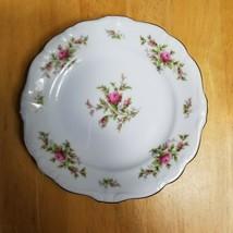 FOUR Johann Haviland Moss Rose Bread Plate White Pink Roses Bavarian Bac... - $11.83