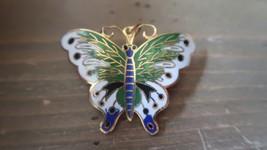 Vintage Gold Tone Enamel Butterfly Brooch Pendant Combo - $12.27