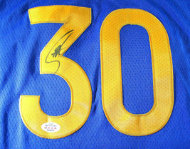 STEPHEN CURRY / AUTOGRAPHED GOLDEN STATE WARRIORS BLUE PRO STYLE JERSEY / COA image 3