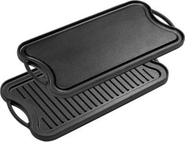 PreSeasoned Cast Iron Reversible Grill Griddle Pan Works on All Possible... - $126.26+