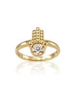 Yellow Gold Hamsa Star of David Diamond Ring - $109.99+