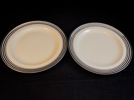Vntg Leigh Ware Potters Astoria 2 DINNER PLATES Cream Color w/ Silver Tr... - $12.86