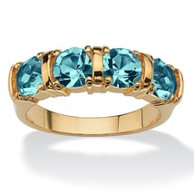 Birthstone 18k Gold-Plated Channel Ring-December-Simulated Blue Topaz - $27.94