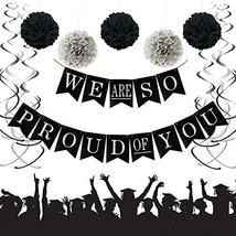 We Are So Proud of You Graduation Banner, Black and Silver Graduation Pa... - $14.97