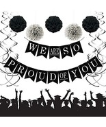We Are So Proud of You Graduation Banner, Black and Silver Graduation Pa... - $19.54