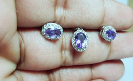 925 Sterling Silver Natural Amethyst And Cz Gemstone Handcrafted Design Women's  image 3