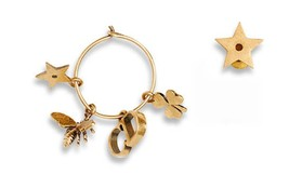 "Authentic Christian Dior 2017 ""D PORTE-BONHEUR"" EARRINGS Dangle Star Hoop"