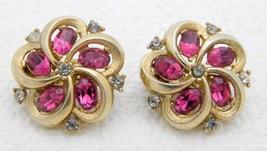CROWN TRIFARI Gold Tone Dark Pink Clear Rhinestone Flower Clip Earrings - $49.49