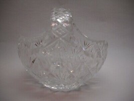 CRYSTAL Basket with POINTED Edges Pattern HANDLE with GLASS Small VASE O... - $43.54
