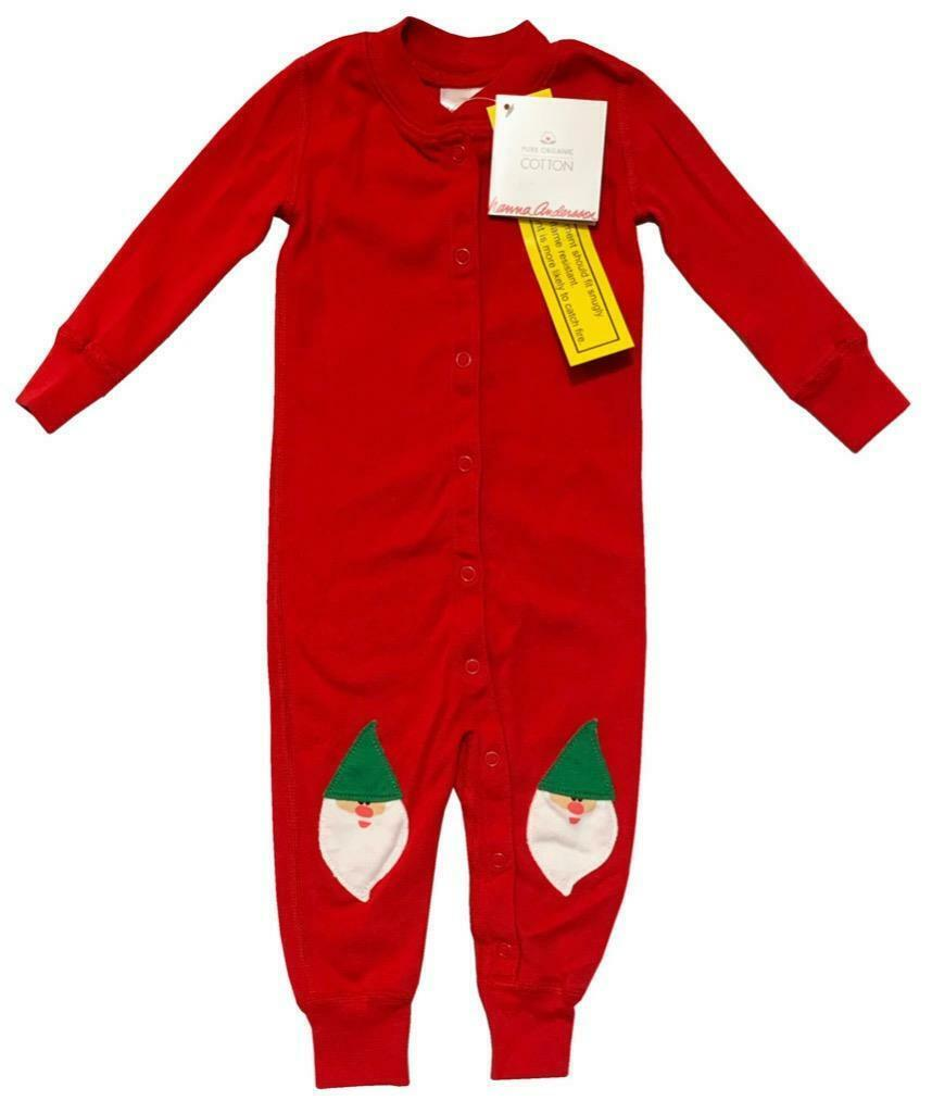 New Hanna Andersson Baby 3 6 Months 60 cm Red Gnome Snap Body Suit - $34.60