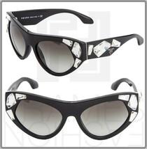 Prada Voice 21Q Black White Crystal Fashion Runway Sunglasses PR21QS Cat Eye - $316.80