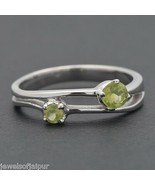 925 Sterling Silver Natural Peridot Gemstone Ring Size 6 Jewelry - $24.13