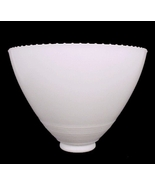 "Reflector Table Lamp Shade White Milk Glass 8"" Fine Ring Beaded Top Vintage - $24.95"