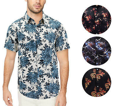 Men's Cotton Short Sleeve Casual Button Down Floral Pattern Dress Shirt
