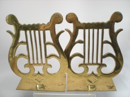 Vintage Pair Harp Solid Brass Book Ends Bookends Musical Symbol Lyre Eng... - $47.52