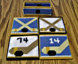 Hockey Coasters, Plastic Canvas, Handmade, Made to Order, Beer, Reversible - $22.00