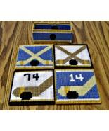 Hockey Coasters, Plastic Canvas, Handmade, Made to Order, Beer, Reversible - $22.00