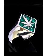 Diamond shaped Sterling silver symbol ring Marijuana leaf Ganja with Gre... - $60.00