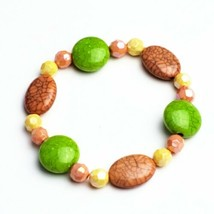 Handmade Beaded Stretch Bracelet Pink Green Yellow Coral Handcrafted Jewelry - $14.99