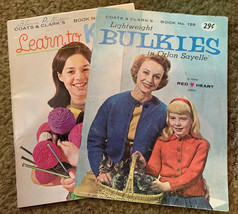 1968 Coats & Clarks Learn to Knit No 190  And 1961 Lightweight Bullies N... - $4.95