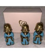 "3"" Little Baby Wise Buddha Brass Statue Set of 3 Blessing Praying Medita... - $71.27"
